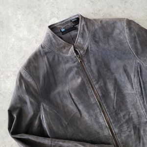 Relativity • Suede Leather Grey Moto Jacket